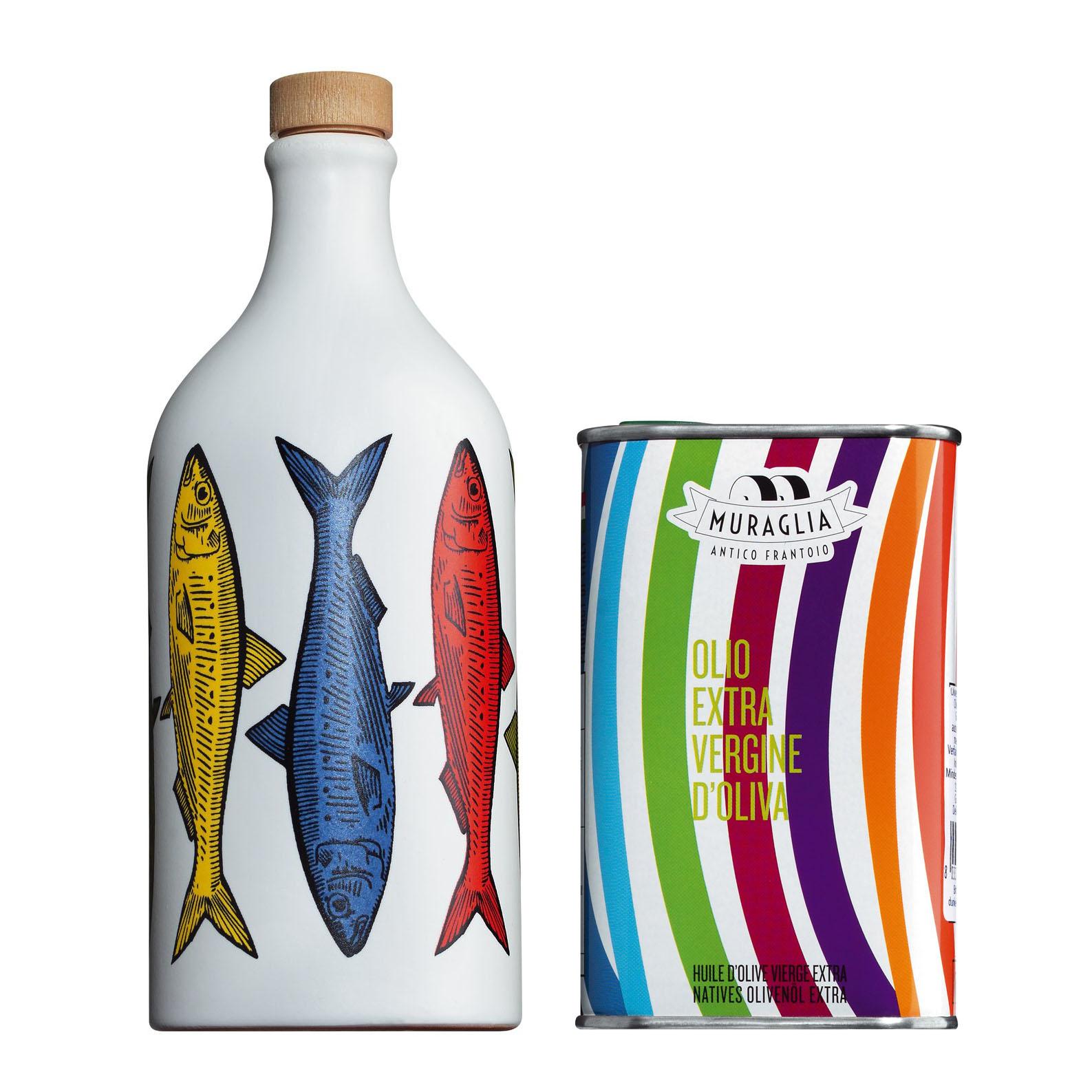 Olivenöl  in Tonflasche *maritim - Sardine* mit Nachfüllkanister