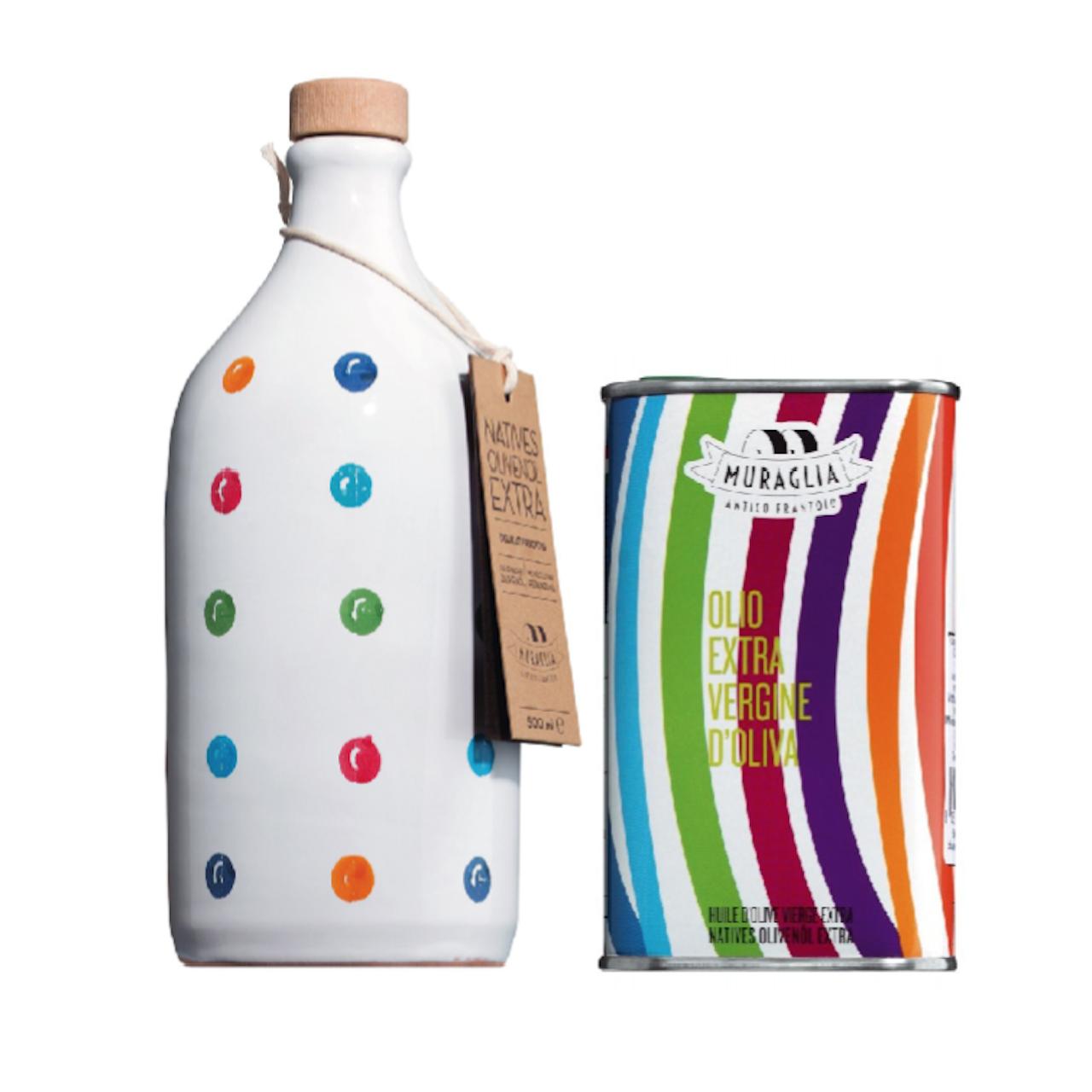 Kings Olivenöl in Tonflasche *gepunktet* mit Nachfüllkanister
